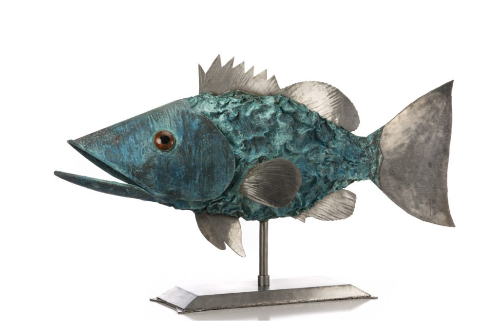 big copper and stainless steel fish sculpture