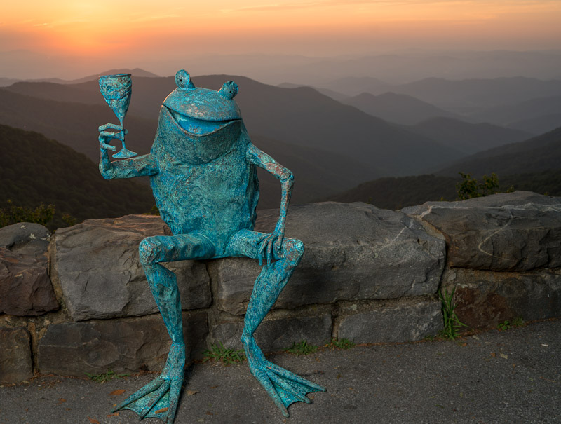 copper frog sculpture wine toasting at Craggy Pinnacle, NC